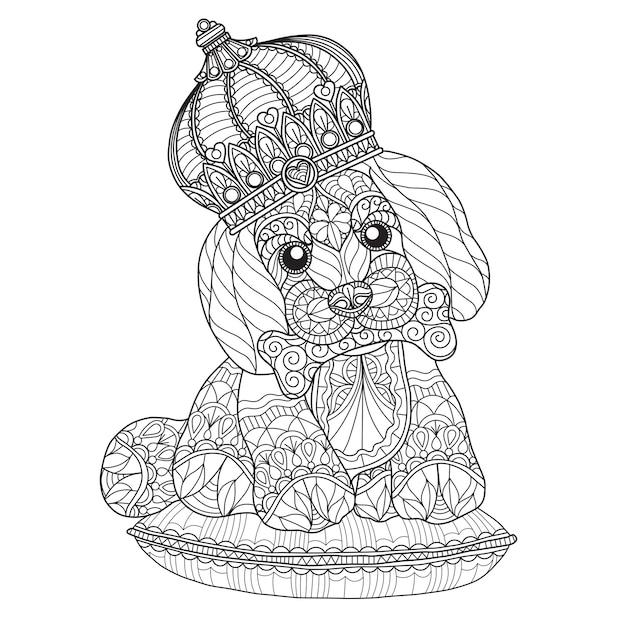 Mano dibuja la ilustración de lindo cachorro en estilo zentangle ...