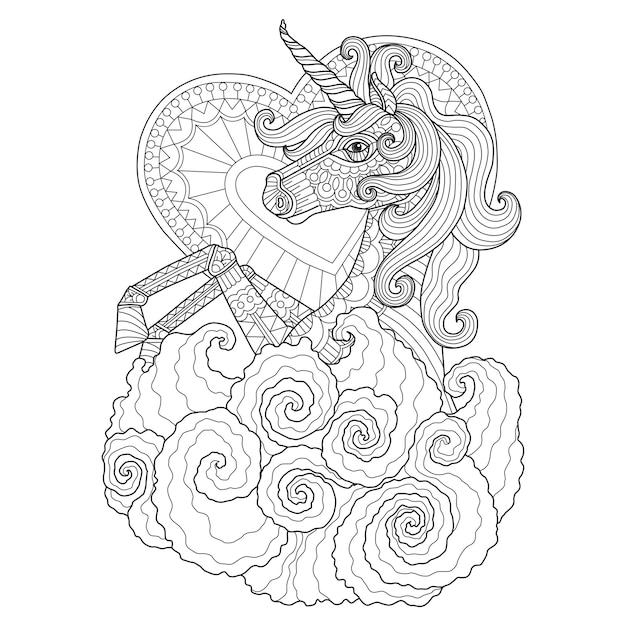 Mano dibuja la ilustración de unicornio en estilo zentangle ...