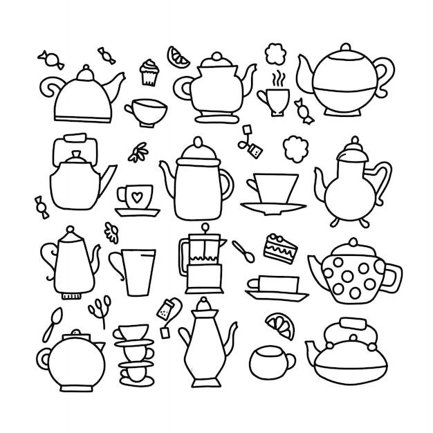 Mano dibuja la ilustración de vector doodle de tetera. símbolo de línea de icono de tetera doodle. Vector Premium
