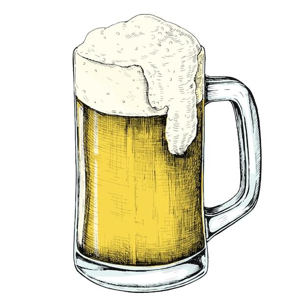 Mano dibujada cerveza bebida alcohólica Vector Premium