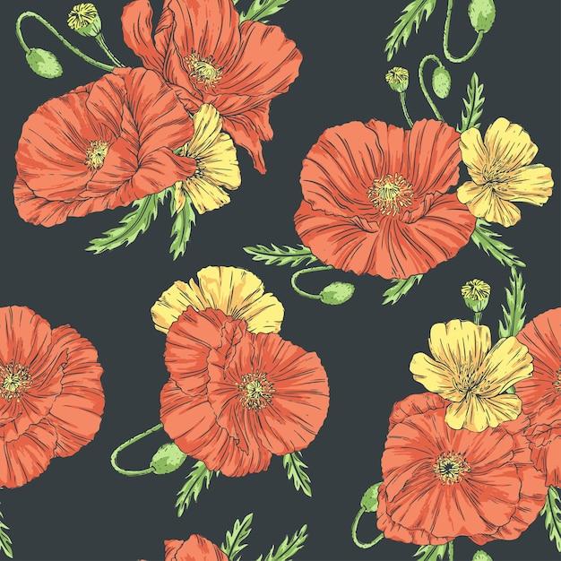 Mano dibujada de patrones sin fisuras en estilo vintage con amapolas y flores silvestres sobre un fondo oscuro. Vector Premium