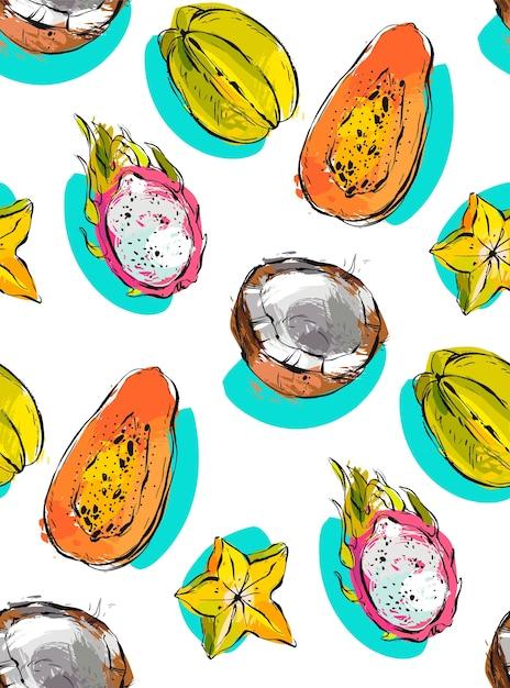Mano dibujada de patrones sin fisuras con frutas tropicales exóticas papaya, fruta del dragón, coco y carambola Vector Premium