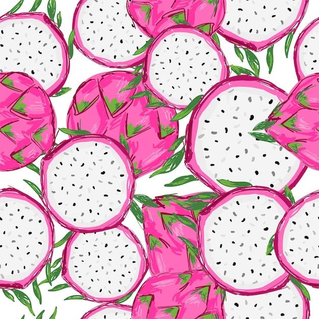 Mano dibujada de patrones sin fisuras pitaya fruit print para textiles de verano Vector Premium