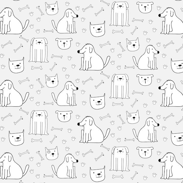 Mano dibujada perros lindos patrón de fondo. ilustración vectorial Vector Premium