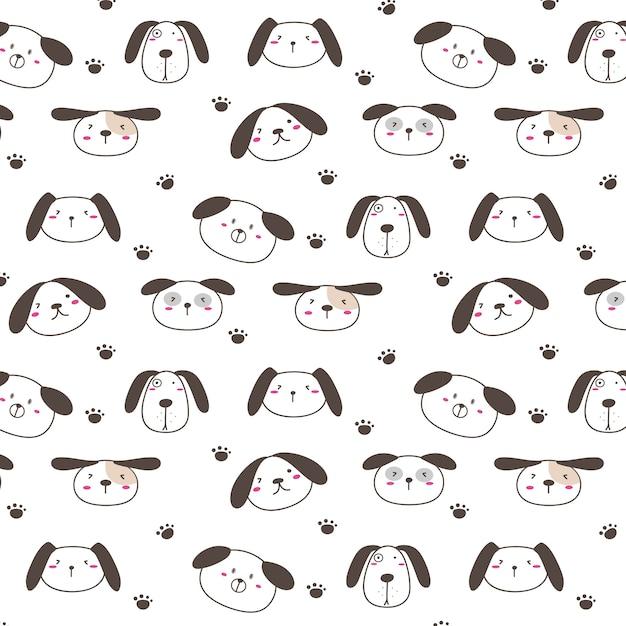 Mano dibujada perros lindos patrón de fondo.   Descargar Vectores ...