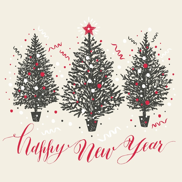 Mano dibujada tarjeta de navidad. árboles de año nuevo con nieve y confeti vector gratuito