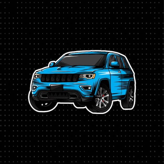 Mano dibujar coche jeep moderno Vector Premium