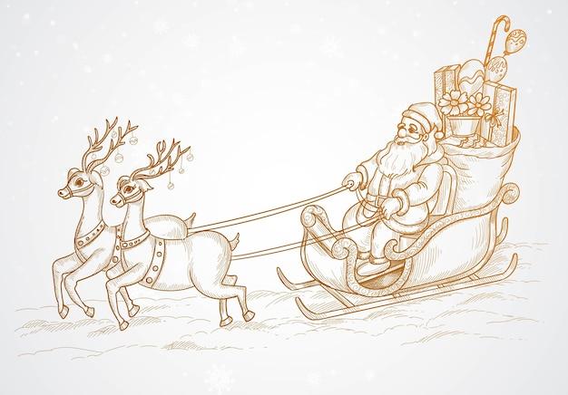 Mano dibujar dibujo de renos de santa y navidad voladores vector gratuito