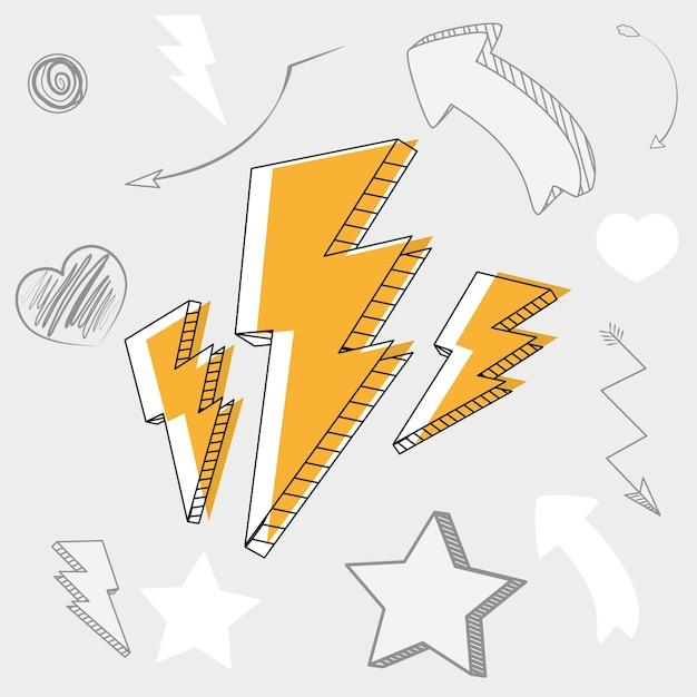 Mano dibujar dibujos animados de rayos y flechas Vector Premium