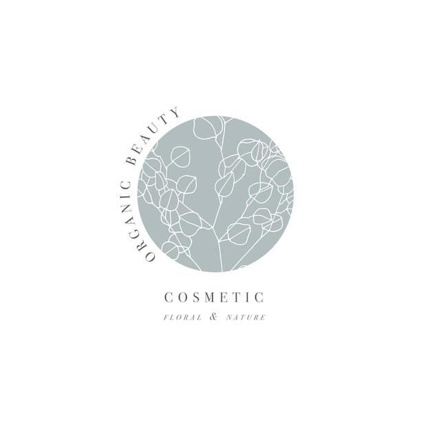 Mano dibujar la ilustración del logo de la rama de mucalyptus. guirnalda floral. Vector Premium
