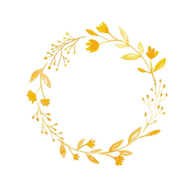 mano dibujo corona de flores en estilo acuarela