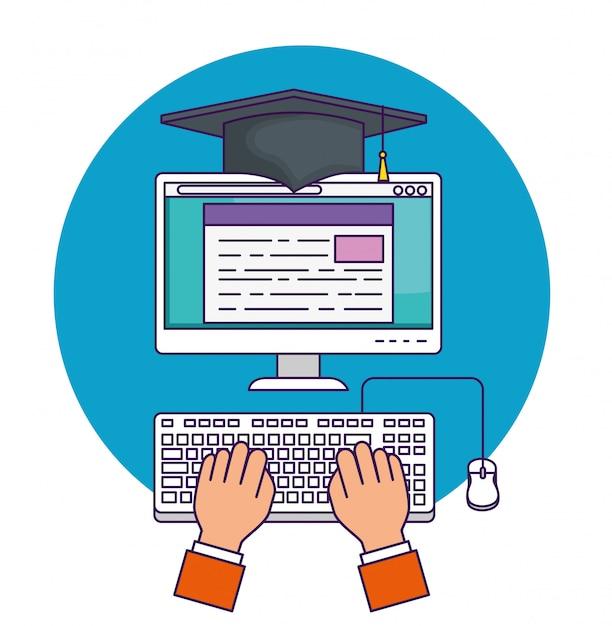 Mano con educación en documentos informáticos para estudiar vector gratuito