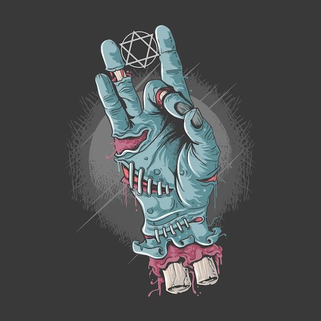 Mano fría zombie con huesos y sangre ilustraciones Vector Premium