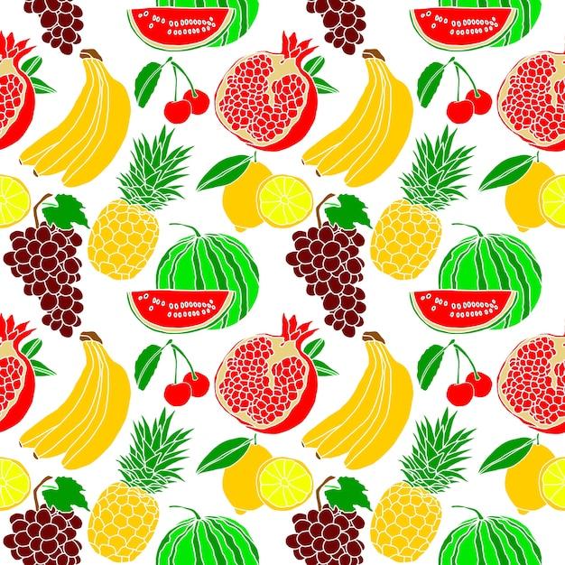 Mano de la fruta tropical dibujo de fondo transparente Vector Premium