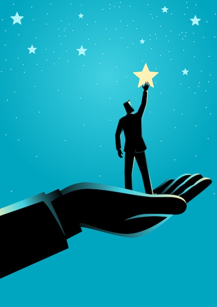 Mano gigante ayudando a un empresario a alcanzar las estrellas Vector Premium