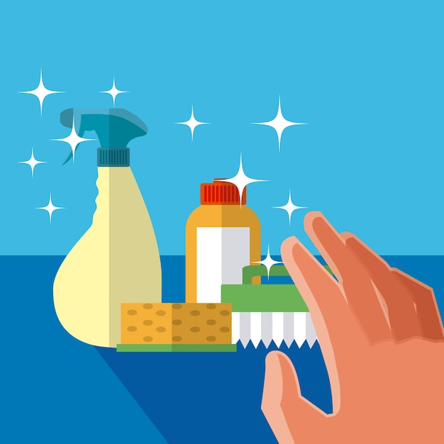 Mano grabbing concepto de productos de limpieza - Limpiador de errores gratis ...