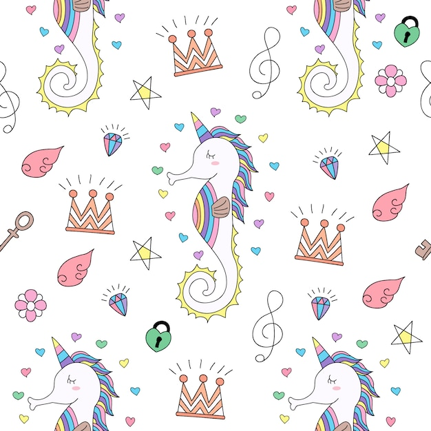 Mano linda de la historieta del unicornio del modelo inconsútil dibujada. Vector Premium