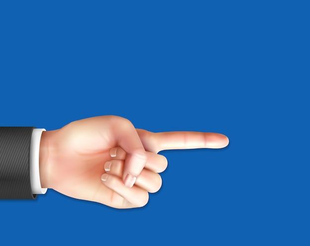Mano masculina realista con dedo índice apuntando en azul vector gratuito