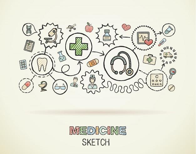 Mano médica dibujar icono integrado en papel. dibujo colorido ilustración infográfica. conectado doodle pictogramas de color, cuidado de la salud, médico, medicina, ciencia, concepto interactivo de farmacia Vector Premium