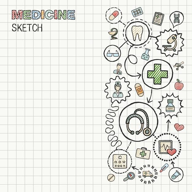 Mano médica dibujar icono integrado en papel. dibujo colorido ilustración infográfica. pictogramas de color doodle conectados. concepto interactivo de salud, médico, medicina, ciencia, farmacia Vector Premium