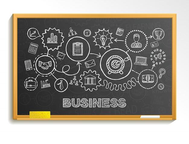 Mano de negocios dibujar conjunto de iconos integrados. boceto de ilustración infográfica. línea conectada pictogramas de doodle en la junta escolar, estrategia, misión, servicio, análisis, marketing, concepto interactivo Vector Premium