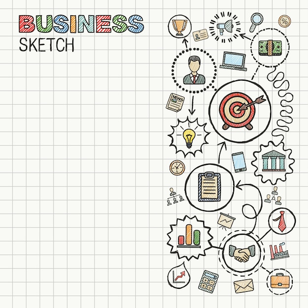 Mano de negocios dibujar conjunto de iconos integrados. dibujo colorido ilustración infográfica. pictogramas de doodle conectados en papel. estrategia, misión, servicio, análisis, marketing, conceptos interactivos. Vector Premium