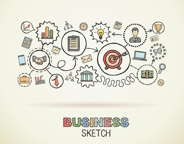 Mano de negocios dibujar conjunto de iconos integrados. dibujo colorido ilustración infográfica. pictogramas de doodle conectados en papel, estrategia, misión, servicio, análisis, marketing, conceptos interactivos Vector Premium