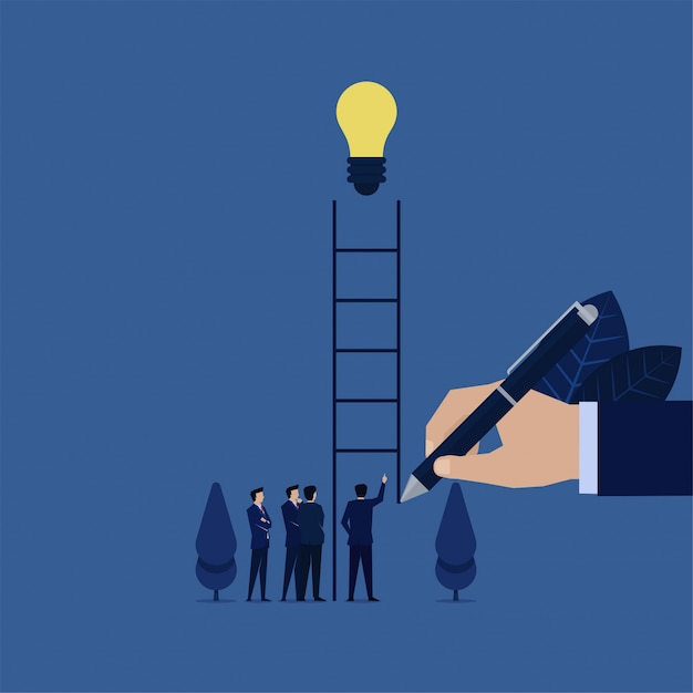 Mano de negocios dibujar escalera para empresario para subir alcanzar metáfora de idea de encontrar idea. Vector Premium