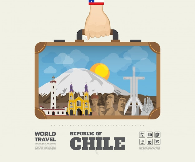 Mano que lleva a chile landmark global travel and journey infographic bag. Vector Premium