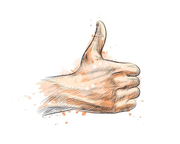 Mano que muestra el símbolo como. haciendo el pulgar hacia arriba gesto de un toque de acuarela, boceto dibujado a mano. ilustración de pinturas Vector Premium