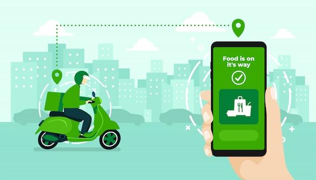 Mano que sostiene la aplicación móvil que rastrea a un repartidor en un ciclomotor Vector Premium