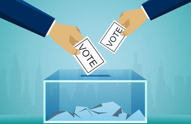 Mano que sostiene la boleta electoral del voto en urna. concepto político de votación Vector Premium
