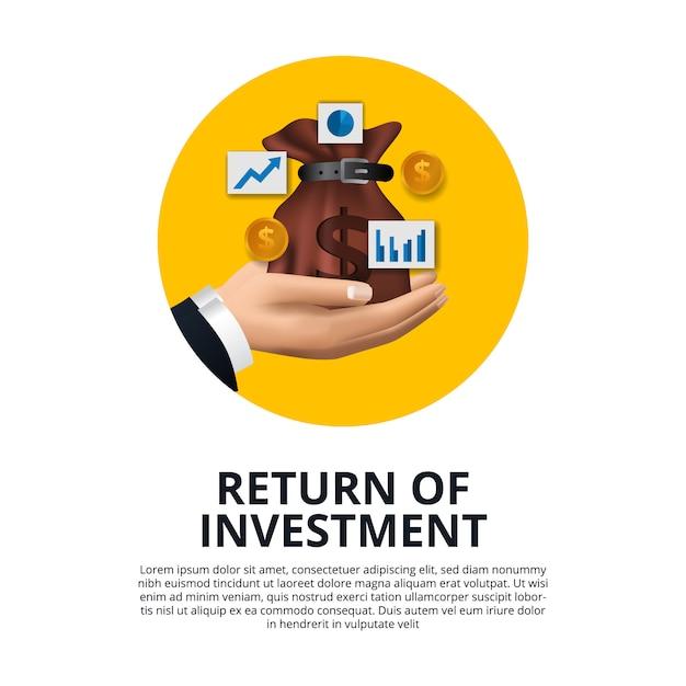 Mano que sostiene la bolsa de dinero moneda de oro, gráfico, flecha crecimiento retorno de inversión roi Vector Premium