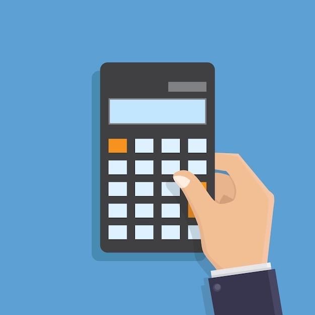 Mano que sostiene el ejemplo plano del vector del diseño de la calculadora Vector Premium