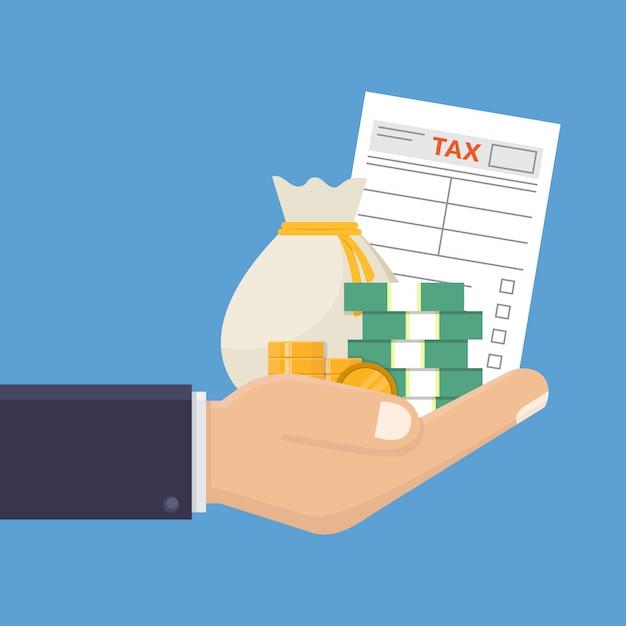 Mano que sostiene formulario de impuestos y dinero diseño plano ilustración vectorial Vector Premium