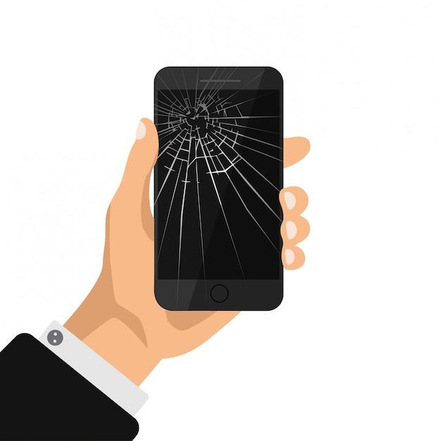 Mano que sujeta el teléfono con la pantalla negra rota. teléfono móvil roto aislado. reparación de icono de teléfono móvil. ilustración. Vector Premium