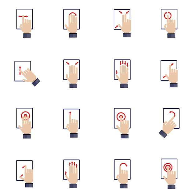 Mano que toca la pantalla del dispositivo móvil tableta plana iconos conjunto vector gratuito