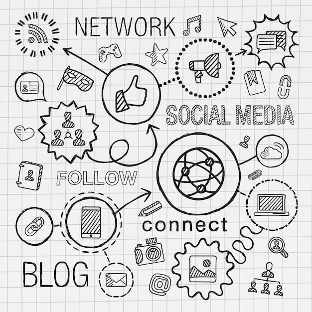 Mano de redes sociales dibujar conjunto de iconos integrados. boceto de ilustración infográfica. línea conectada pictogramas de sombreado de doodle en papel. marketing, red, compartir, tecnología, comunidad, conceptos de perfil Vector Premium