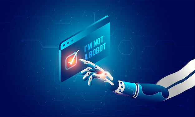 Mano robótica haciendo clic en el captcha 'no soy un robot'. Vector Premium