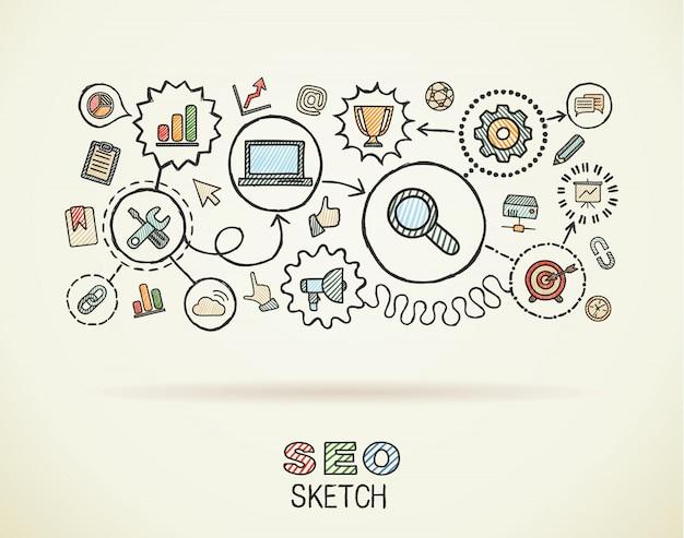 Mano seo dibujar iconos integrados en papel. dibujo colorido ilustración infográfica. pictogramas de doodle conectados, marketing, red, análisis, tecnología, optimizar, concepto interactivo Vector Premium