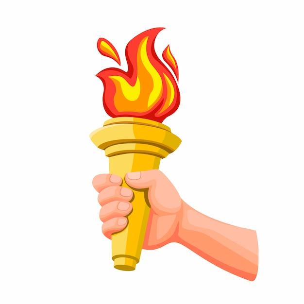 Mano sosteniendo la antorcha dorada con llama de fuego, símbolo de la competencia deportiva en la ilustración de dibujos animados aislado en el fondo blanco Vector Premium