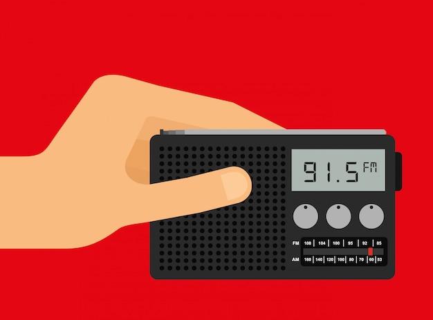 Mano sostiene una radio vector gratuito