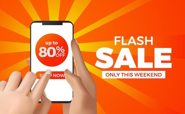 Mano sujetando el teléfono para la plantilla de banner de mega venta flash Vector Premium