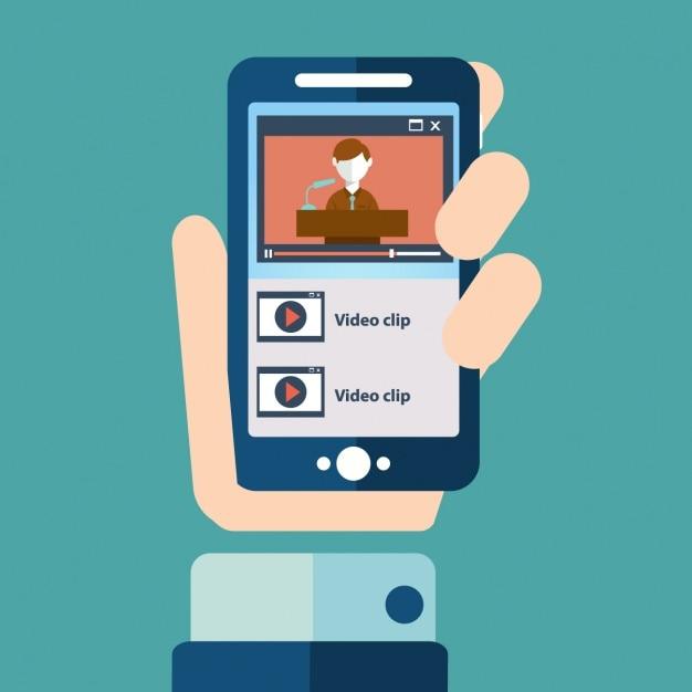 Una mano con un teléfono móvil vector gratuito