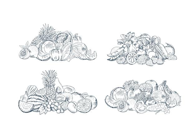 La mano del vector bosquejó las pilas de las frutas y verduras fijadas aisladas en el fondo blanco, colección de ejemplo de los alimentos orgánicos Vector Premium