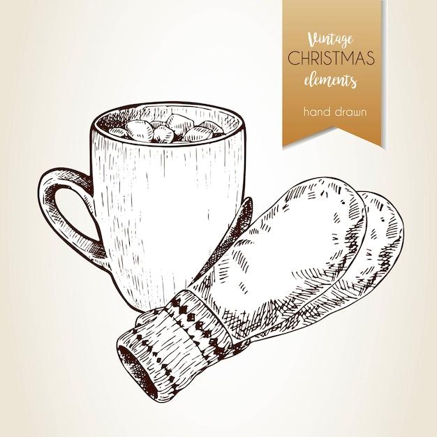 Mano de vector dibujado illustartion de taza de cacao, y guantes ...