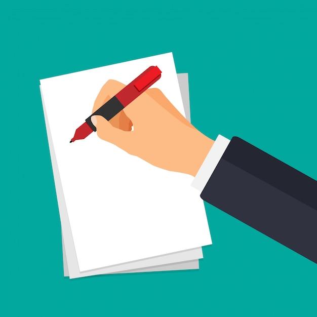 Mano de vector con pluma de escribir en un papel. empresario firma documento. Vector Premium