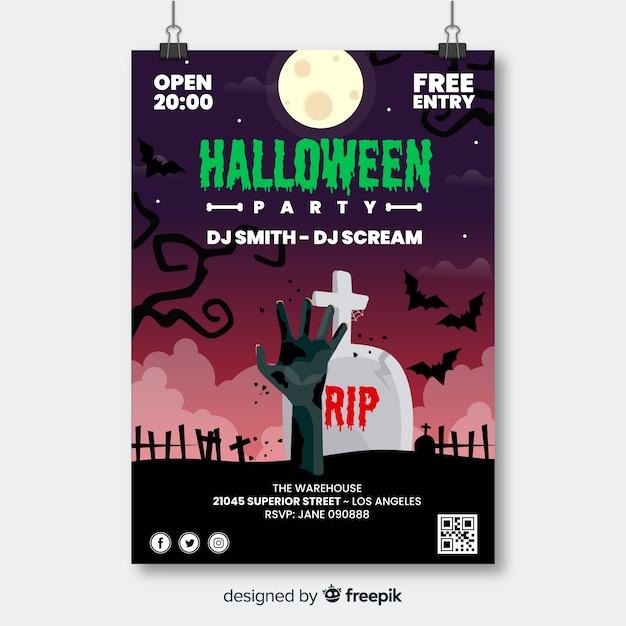 Mano de zombie en cartel de fiesta de halloween de cementerio vector gratuito
