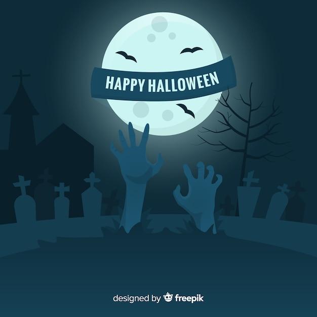Mano de zombie en cementerio sobre fondo de luna llena vector gratuito
