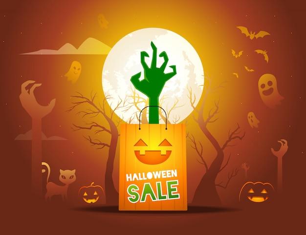 La mano de un zombie sale de la ilustración de la bolsa de papel Vector Premium